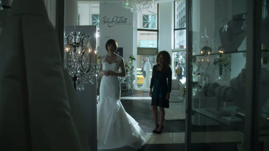 heather in a wedding dress
