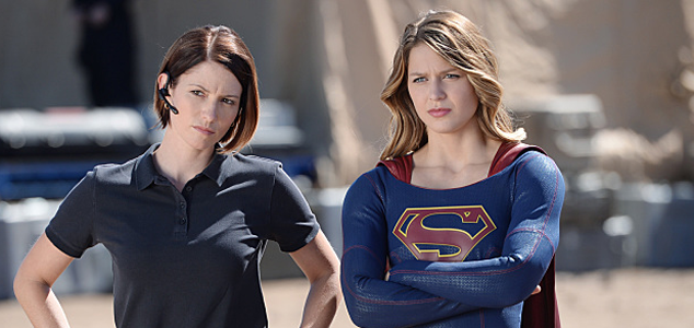 Chyler Leigh as Alex and Melissa Benoist as Supergirl.